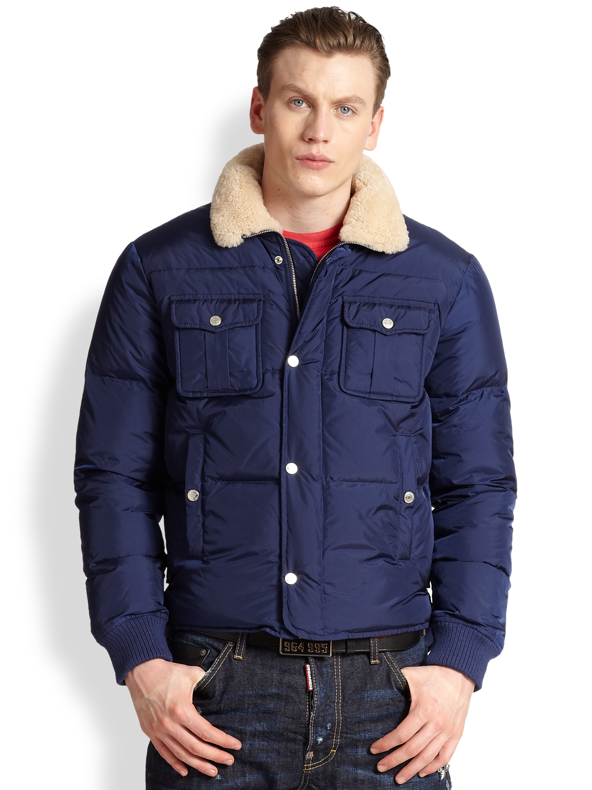 Dsquared² Shearlingcollar Puffer Jacket in Blue for Men | Lyst