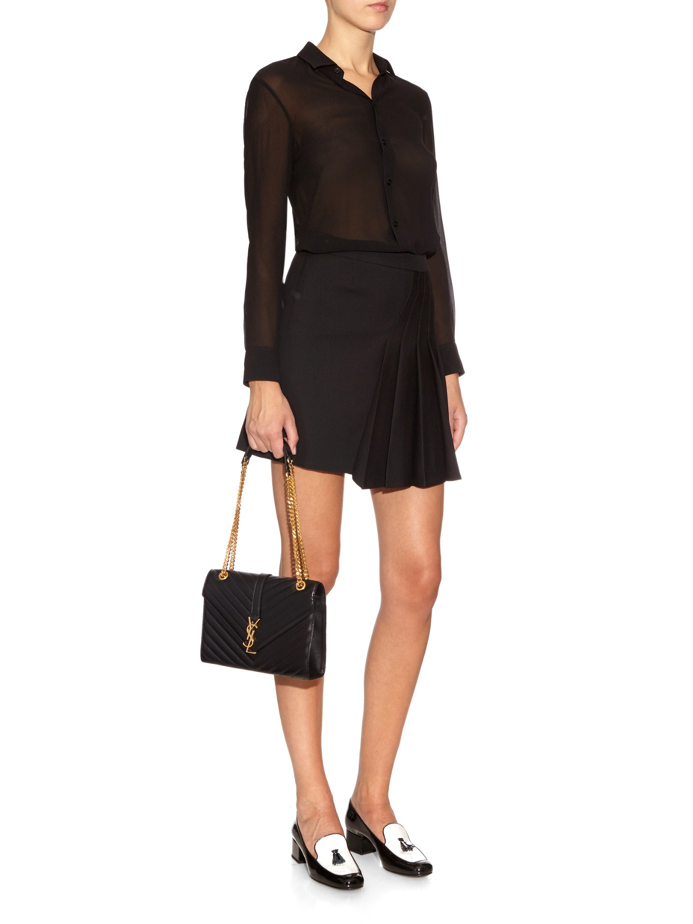 Lyst - Saint Laurent Classic Monogram Quilted-Leather Shoulder Bag in Black 687aba82a3