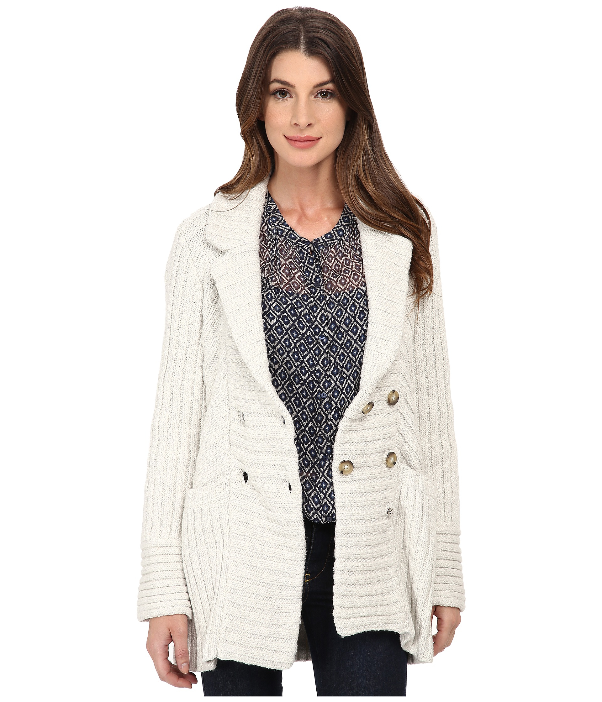 Lucky brand Ribbed Sweater Coat in Gray | Lyst