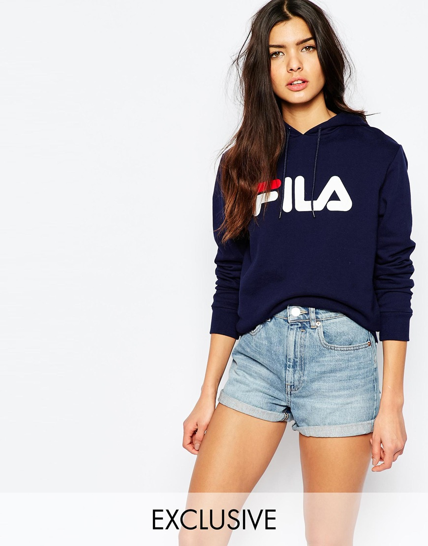 fila oversized pull over hoodie with large logo in blue lyst. Black Bedroom Furniture Sets. Home Design Ideas