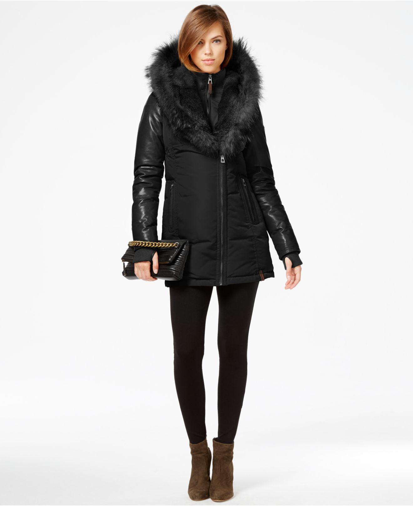 Rudsak Grace Coyote & Rabbit-fur-trim Leather-sleeve Parka in ...