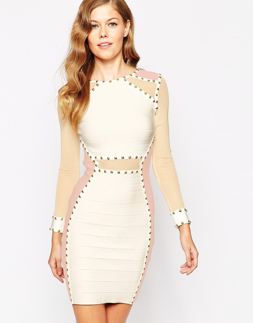 e1fe365be561 Forever Unique Mercy Body-conscious Dress With Sheer Panels in White ...