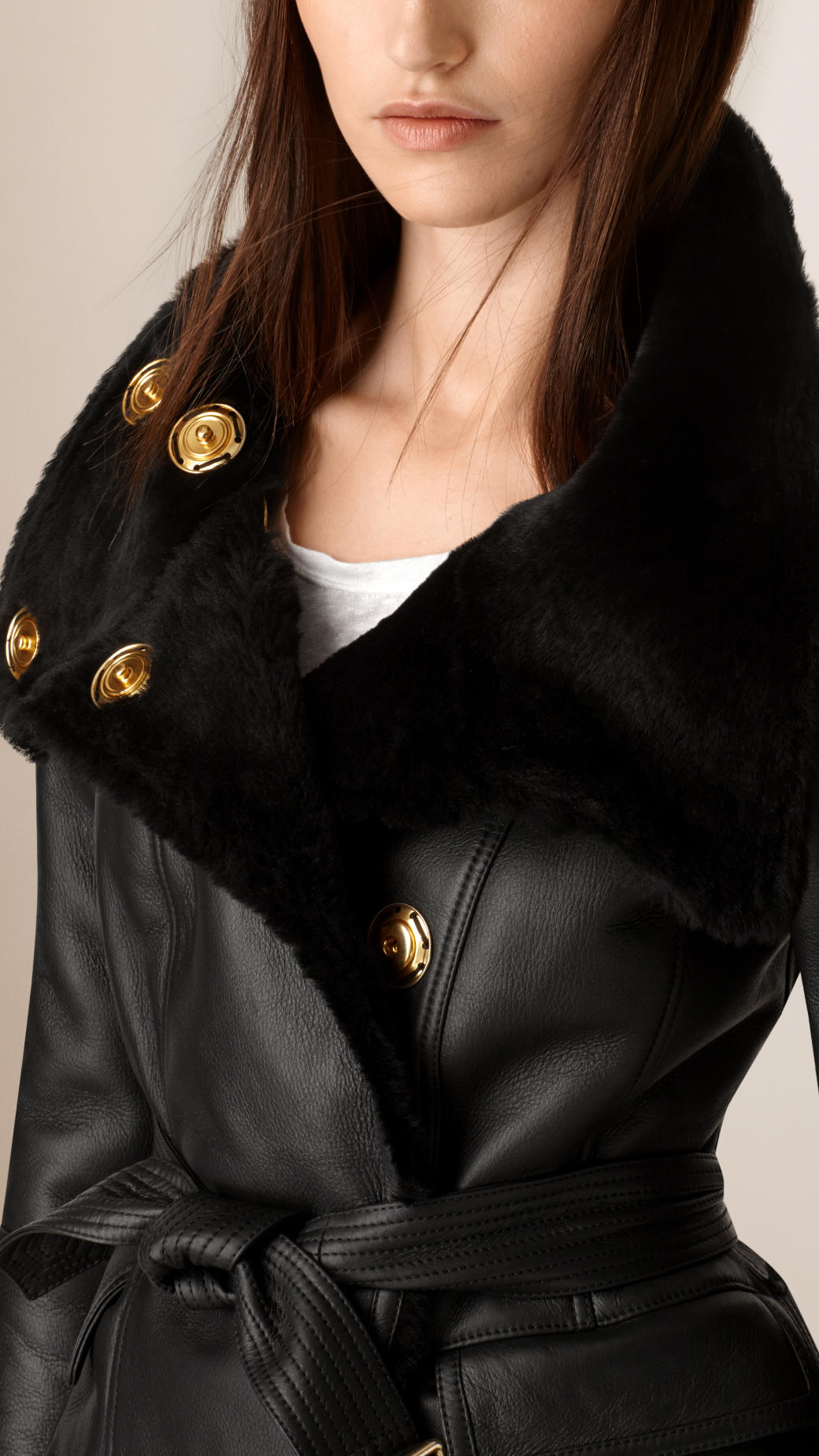 Burberry Shearling Wrap Jacket in Black | Lyst