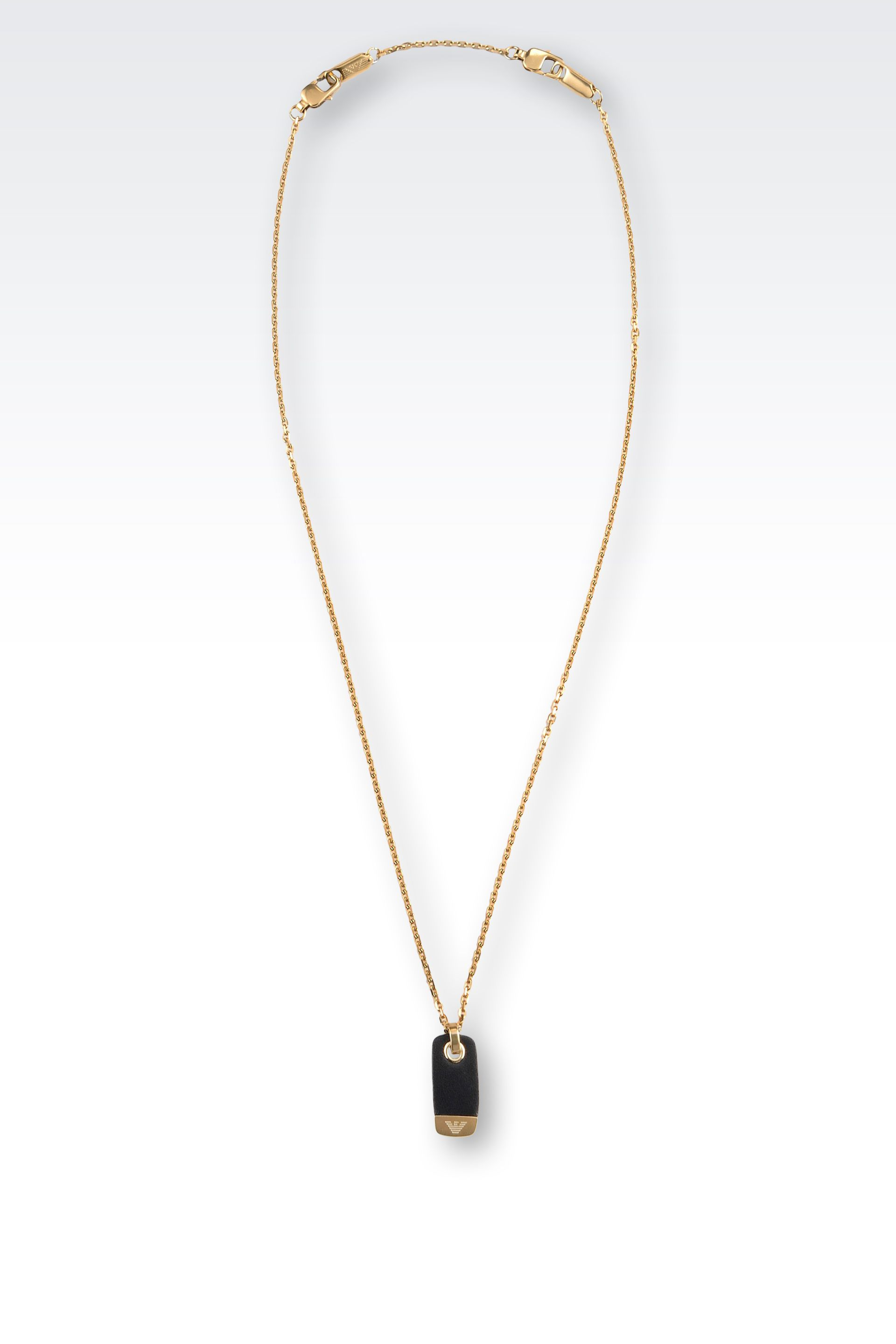 emporio armani necklace in steel and leather with