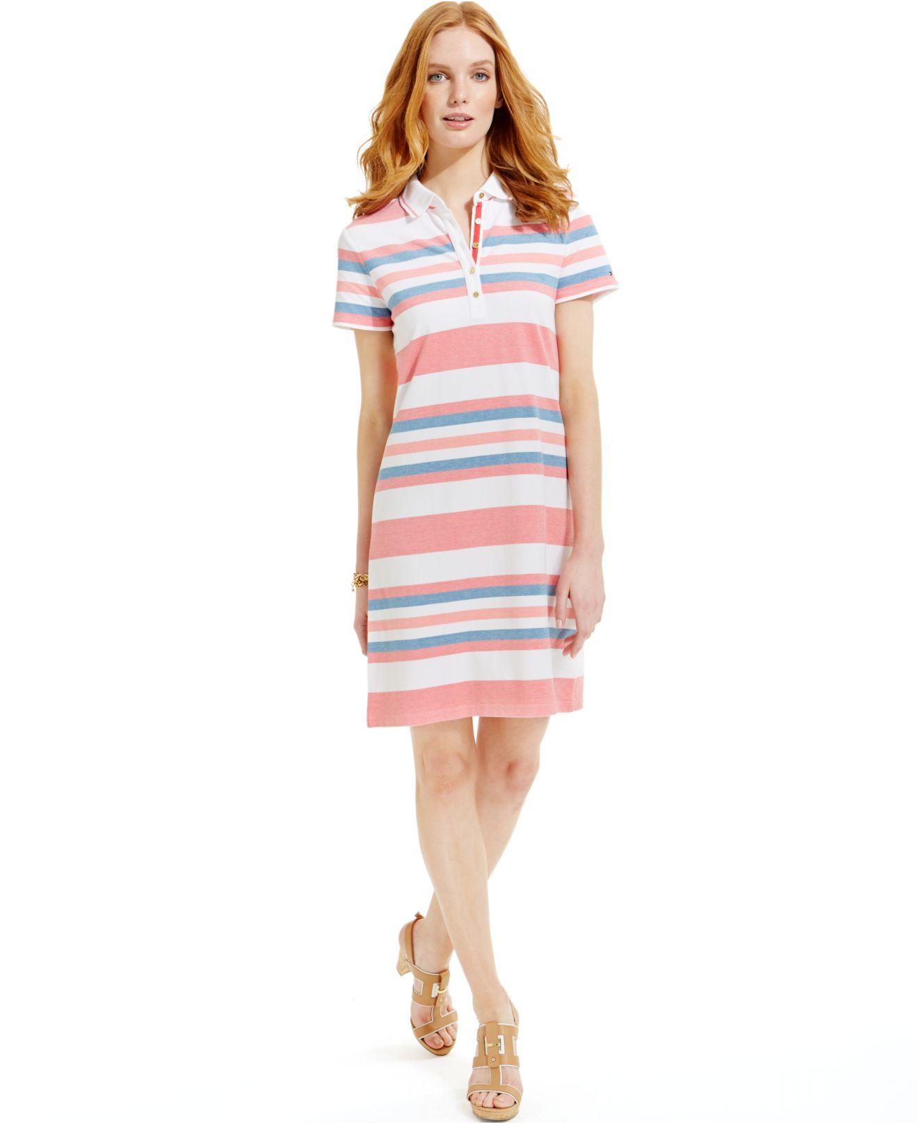 c32ab764 Tommy Hilfiger Striped Polo Shirt Dress - Lyst