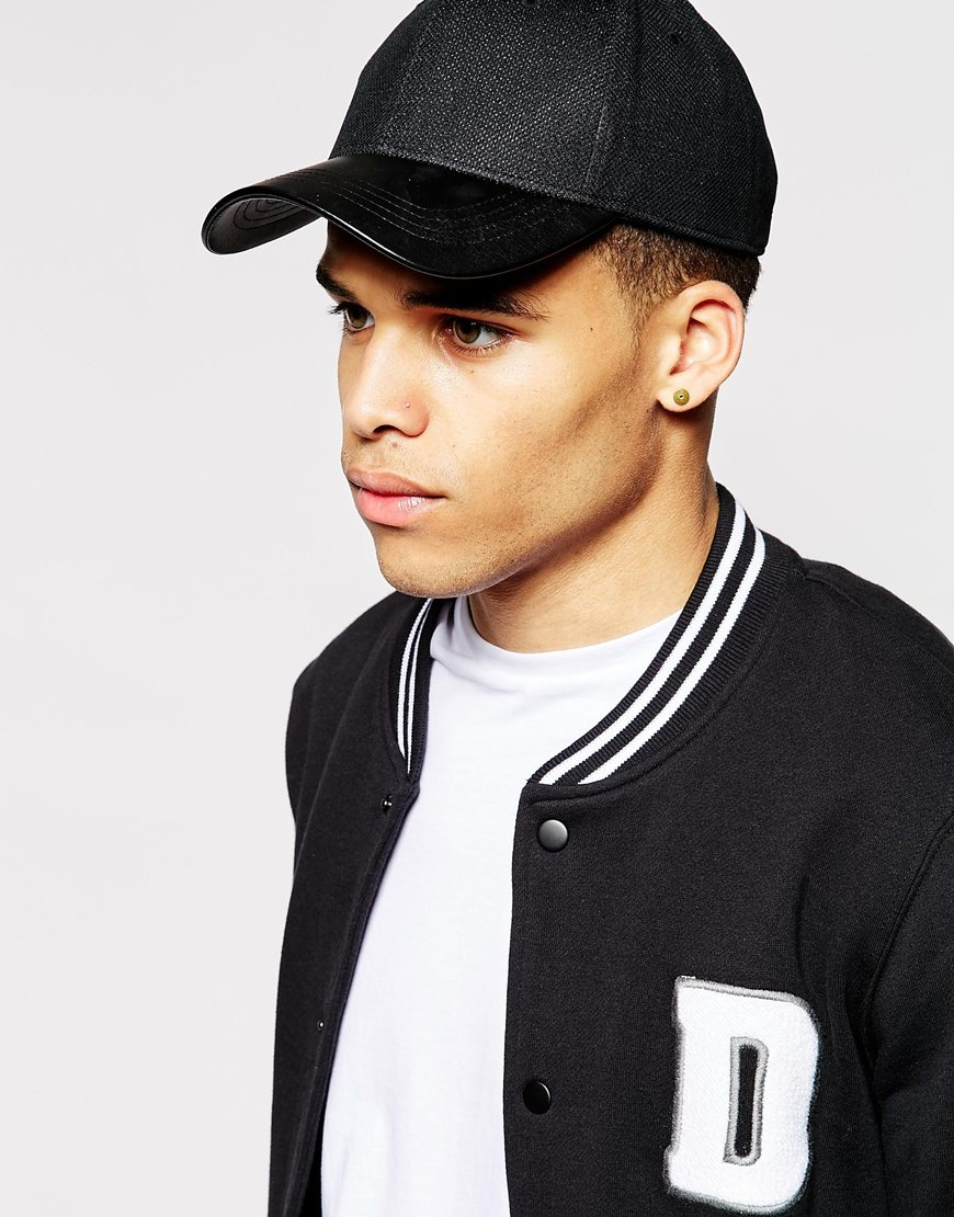 Lyst Asos Baseball Cap In Black Mesh With Faux Leather