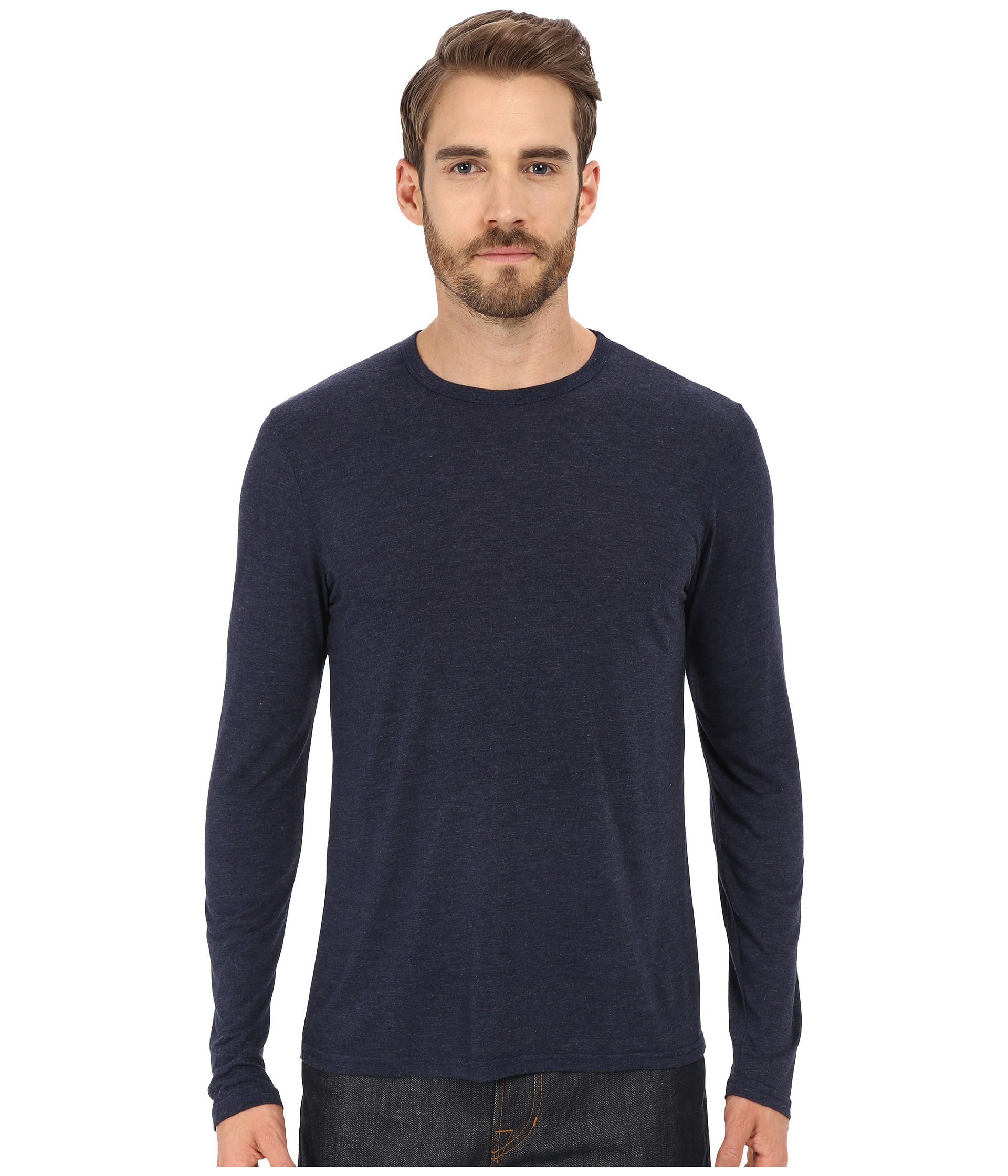 Michael stars long sleeve bamboo crew neck tee in black for Michael stars tee shirts