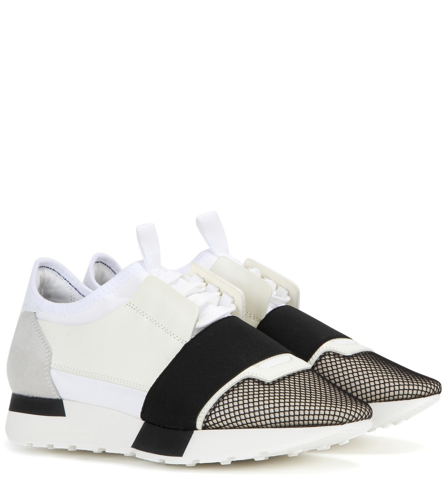 black and white race runner leather sneakers Balenciaga UuzoV
