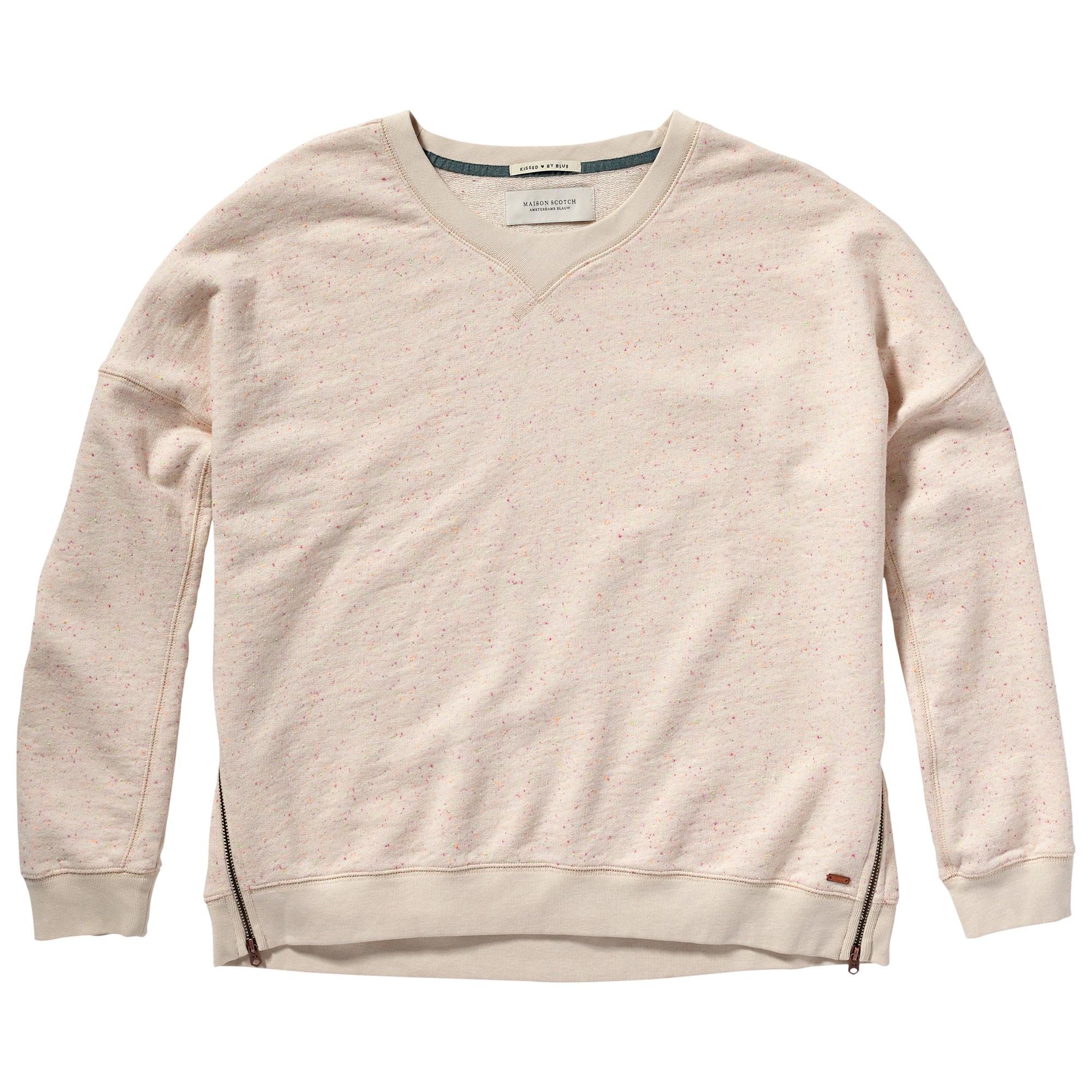 Maison scotch zip detail sweatshirt in natural lyst for Atelier maison scotch