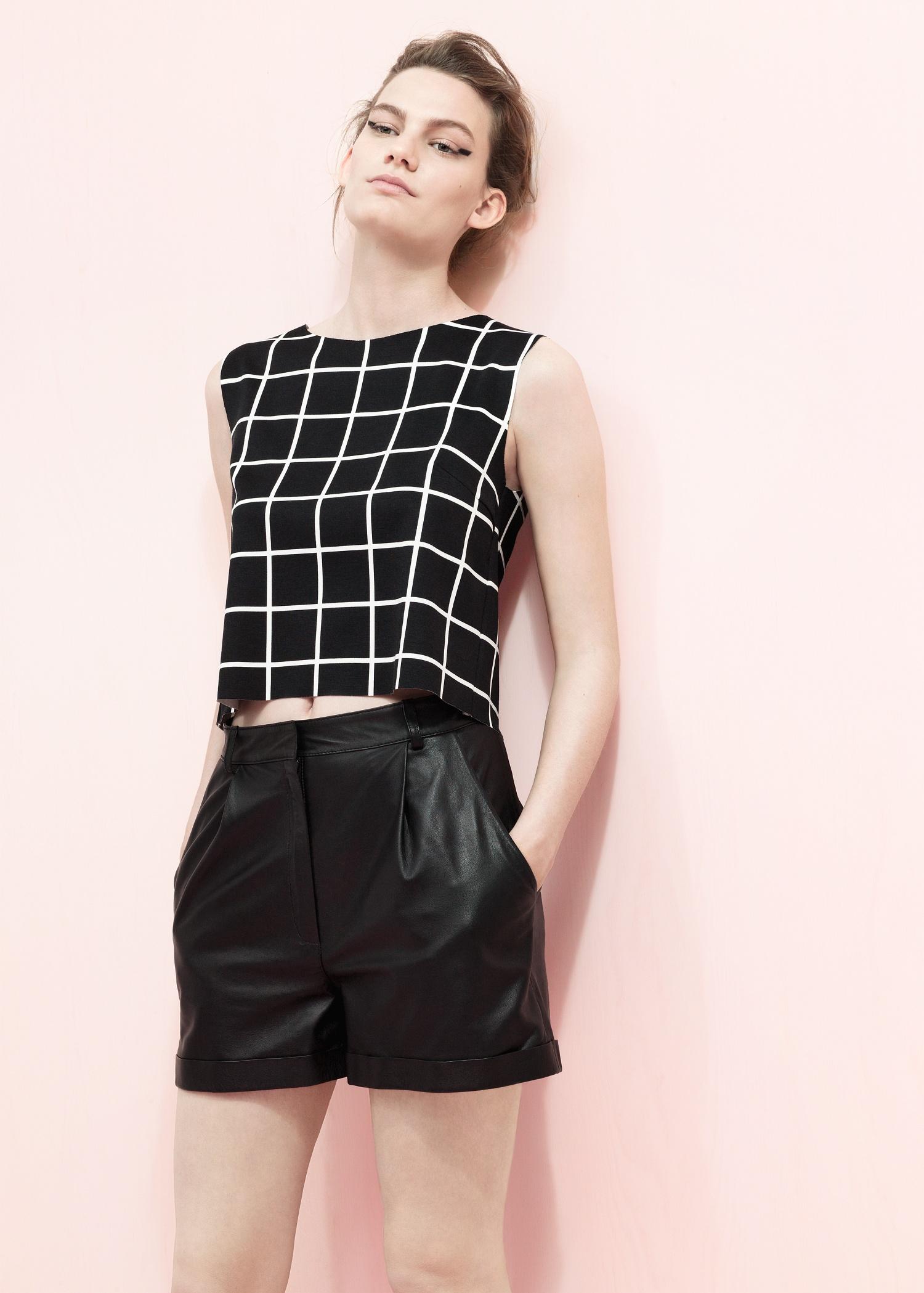 Lyst Mango High Waist Leather Shorts In Black
