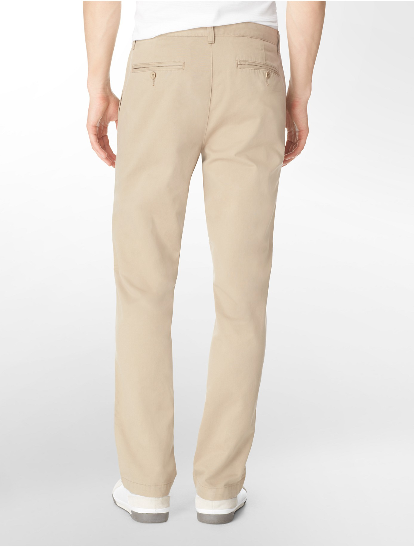Calvin klein Straight Fit Cotton Pants in Natural for Men ...