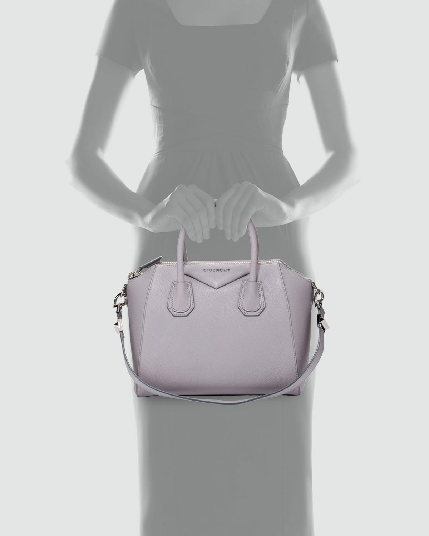 b50fa95e4c7 Givenchy Antigona Small Sugar Goatskin Satchel Bag Light Gray in ...