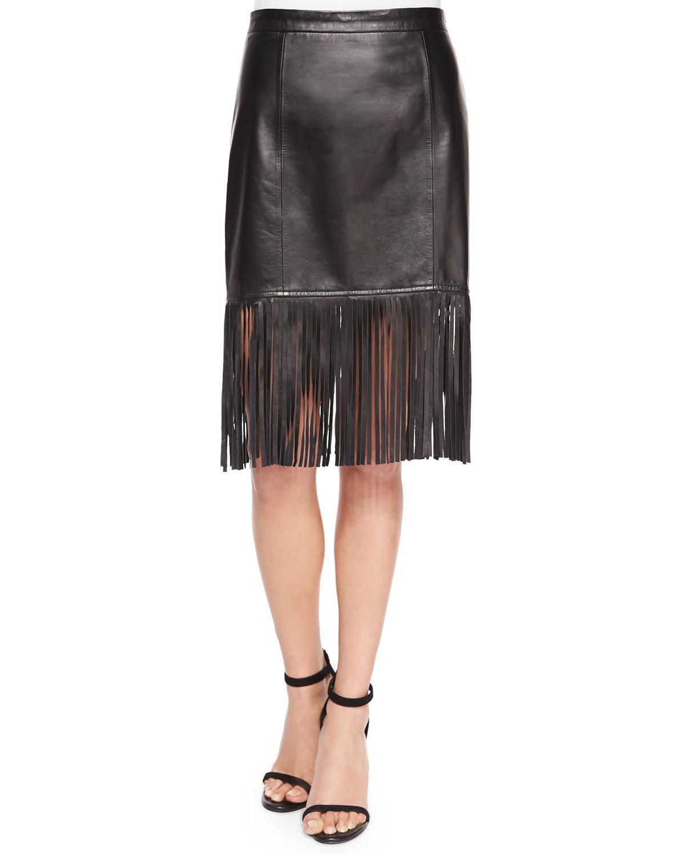 bagatelle fringe hem leather pencil skirt in black lyst