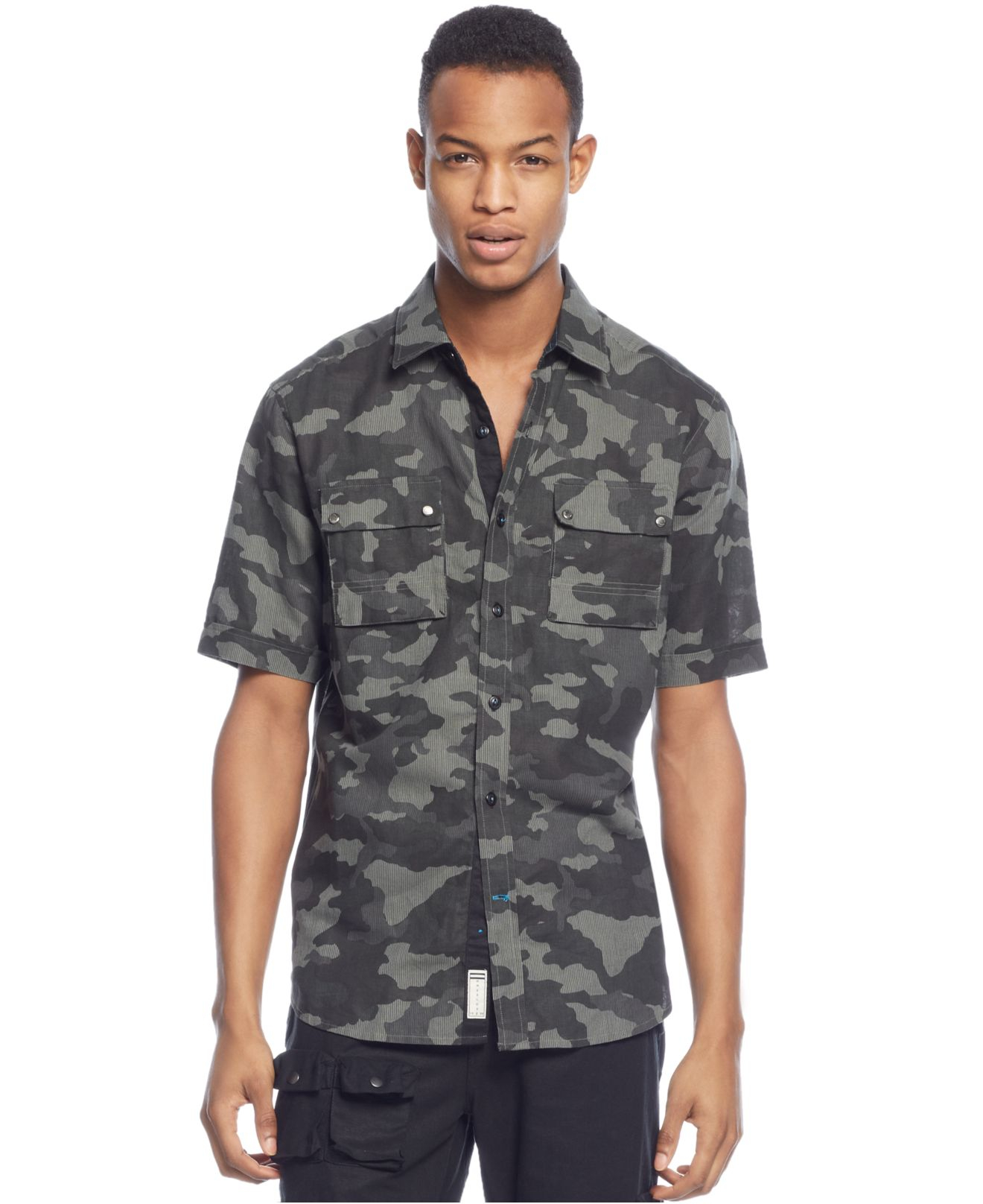 Sean john big tall flight camouflage linen blend shirt for Sean john t shirts for mens