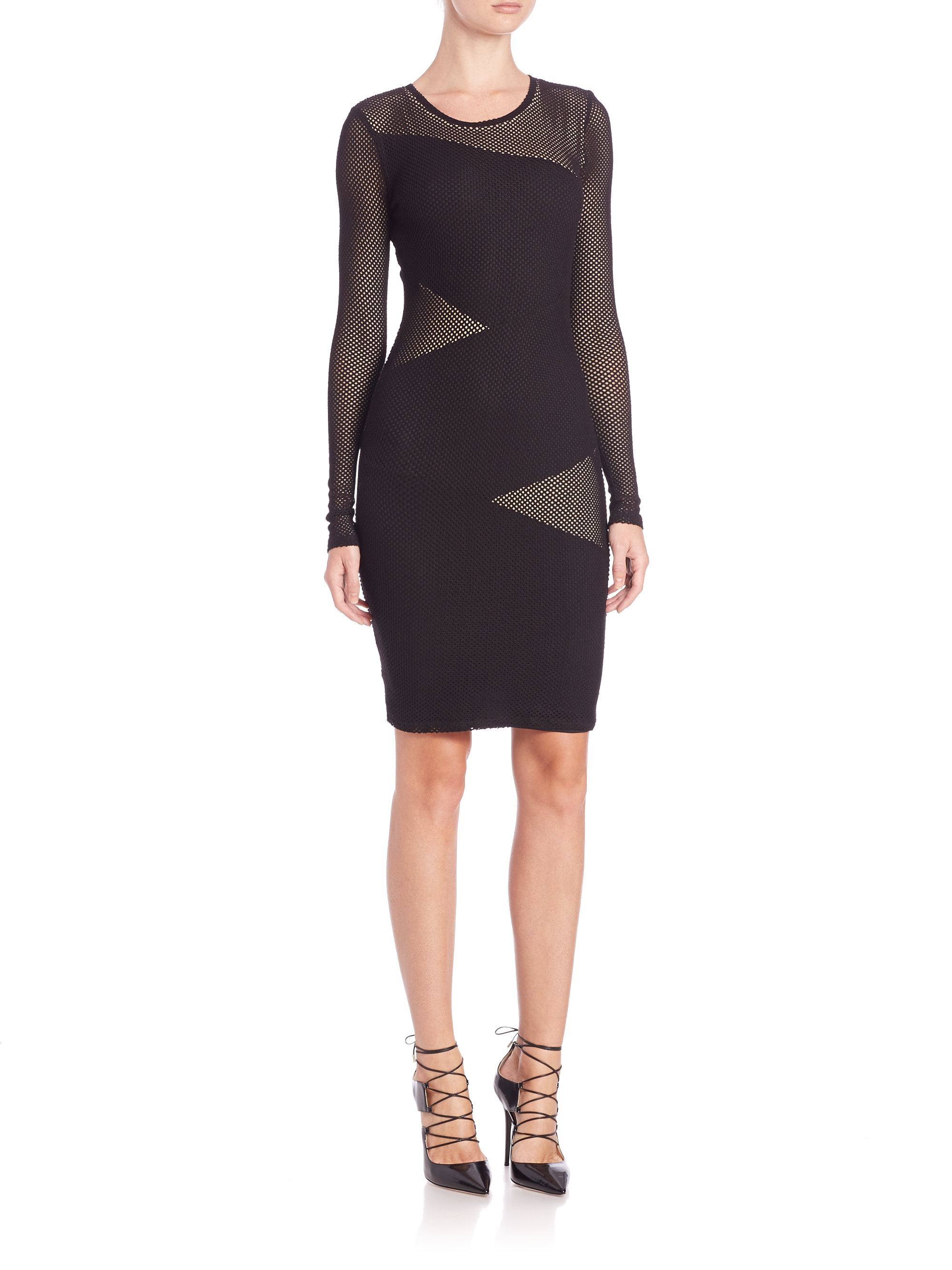 9f266b1c9612 Lyst Bcbgmaxazria Tanya Mesh Long Sleeve Dress In Black