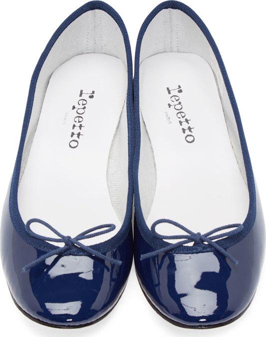 386fd579e9e Lyst - Repetto Navy Patent Leather Cinderella Flats in Blue