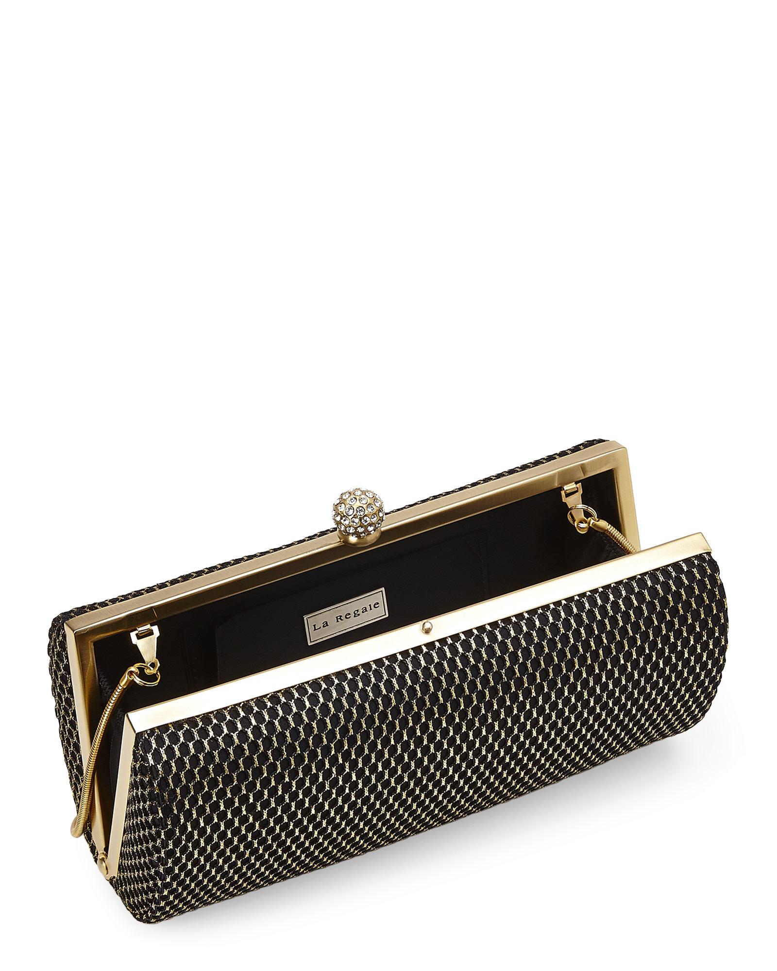 la regale black gold mesh minaudiere clutch in black lyst. Black Bedroom Furniture Sets. Home Design Ideas