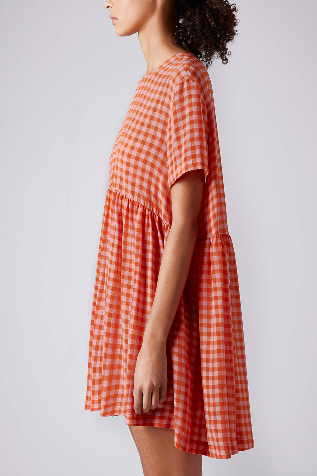 271efdbdd3e4 Lyst - TOPSHOP Gingham Babydoll Dress By Boutique in Red