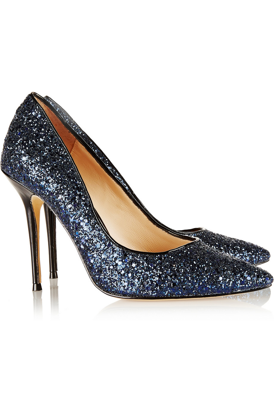 1609ac475a24 Lyst - Lucy Choi Adelite Glitter-Finished Leather Pumps in Blue