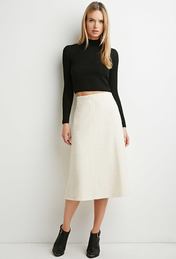 Forever 21 Contemporary A Line Midi Skirt In Natural Lyst