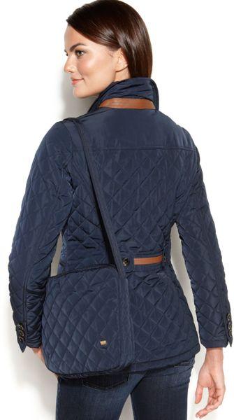 Jones New York Fauxleathertrim Packable Quilted Coat In
