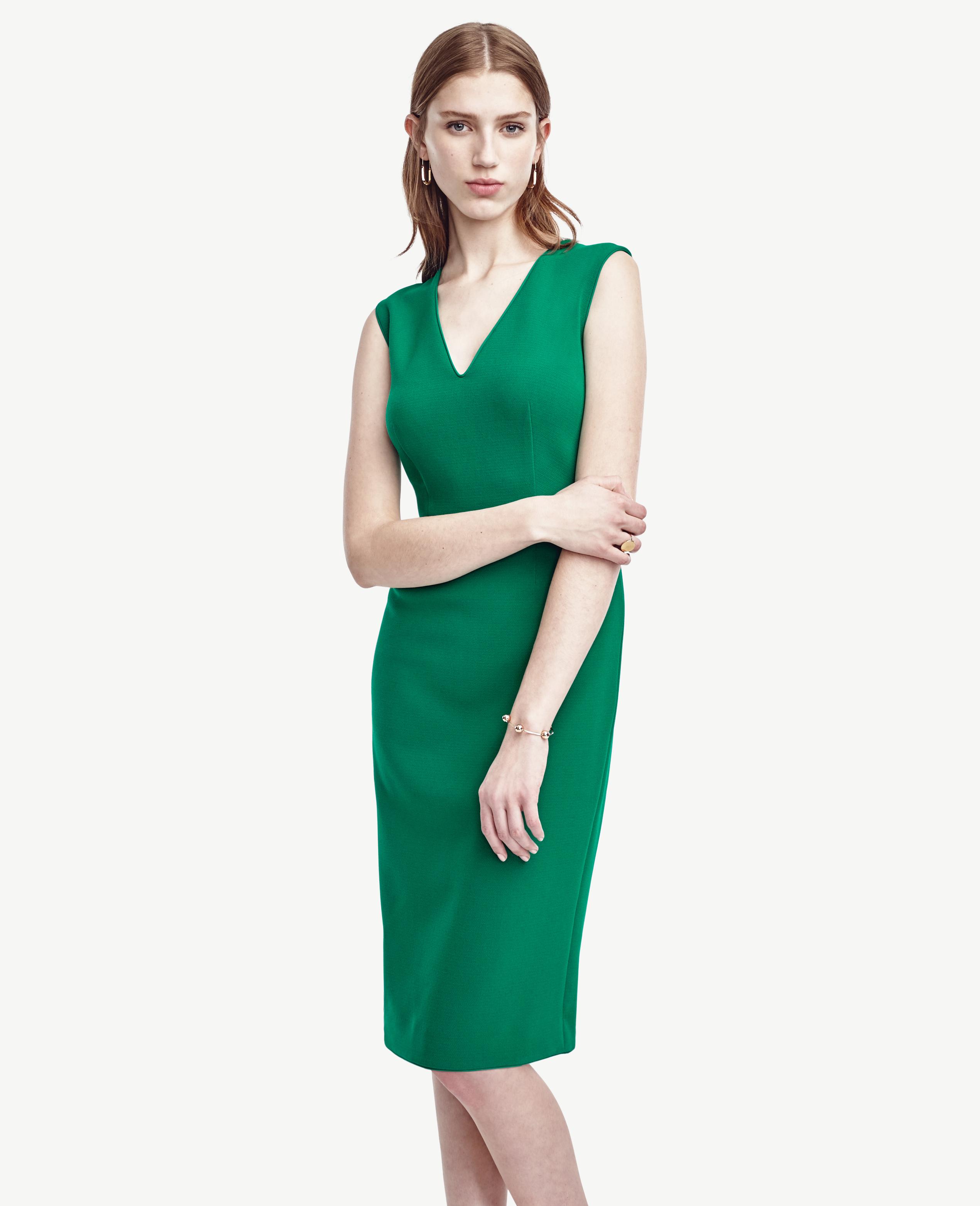 c0fc6b1461 Ann Taylor Piped Doubleweave Sheath Dress in Green - Lyst