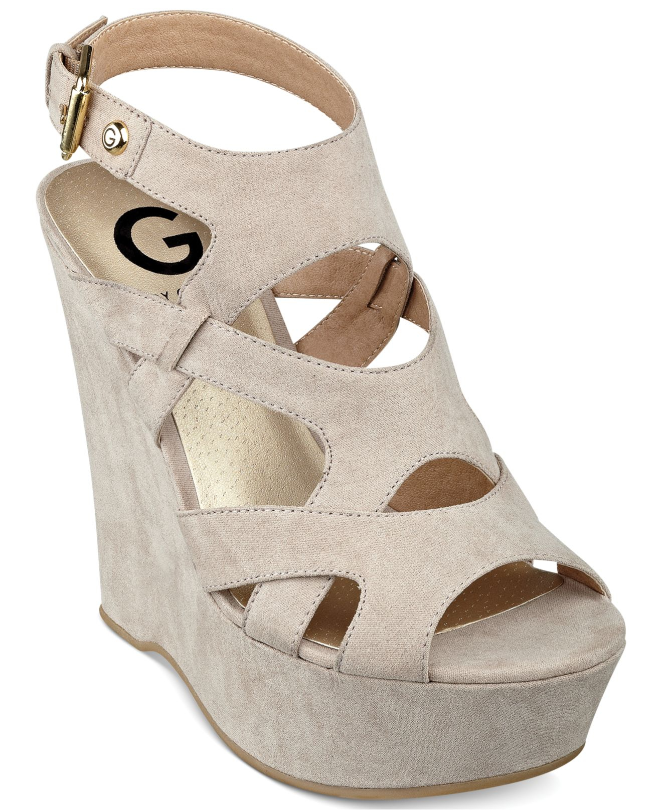 3e0a1a2b6d87 Lyst - G by Guess Hizza Platform Wedge Sandals in Natural