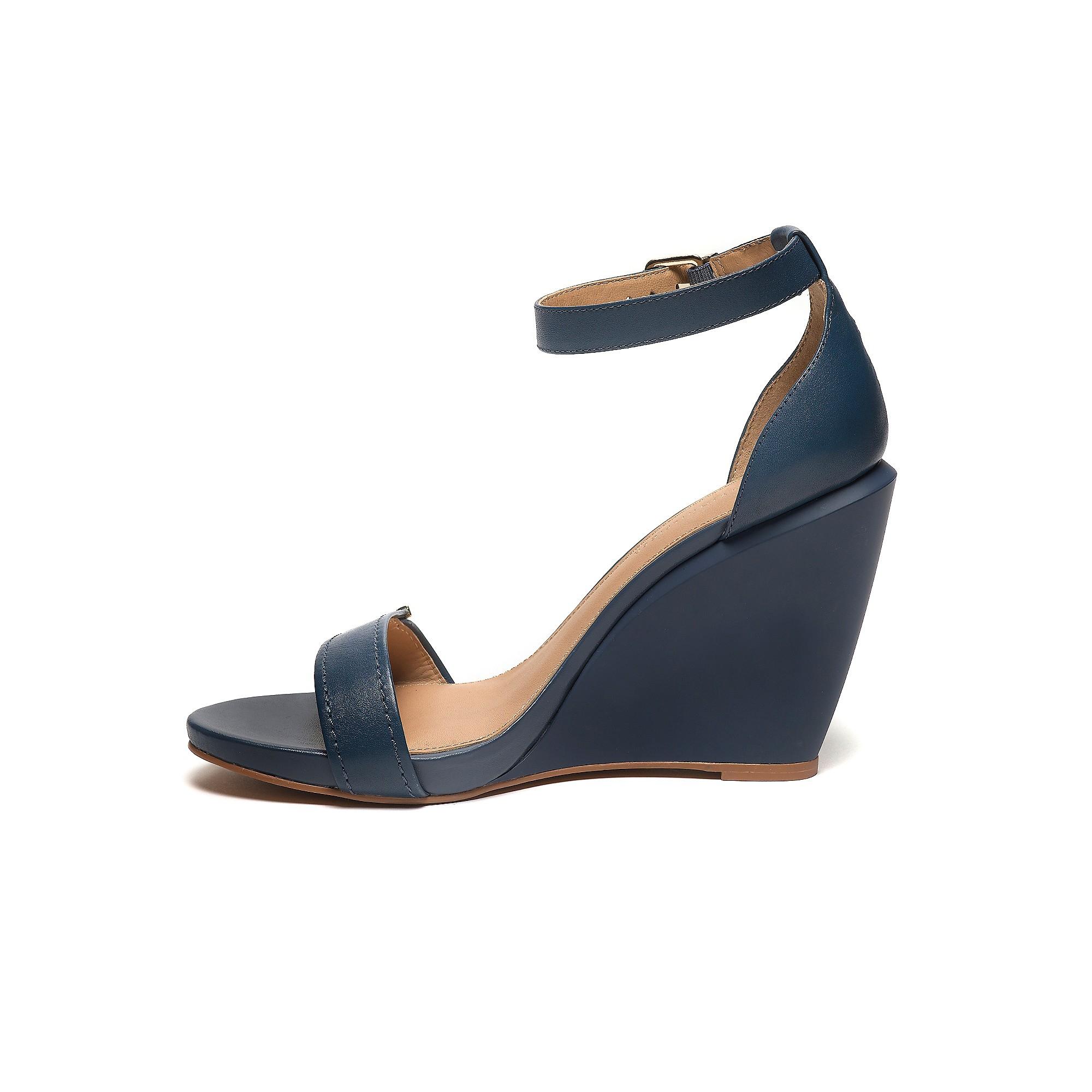 tommy hilfiger ankle strap wedge sandal in blue navy lyst. Black Bedroom Furniture Sets. Home Design Ideas
