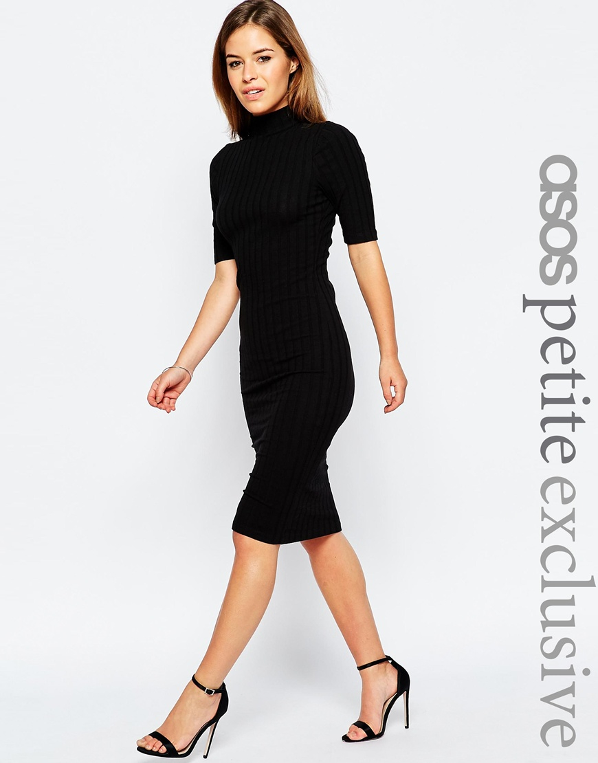 9102881f8da ASOS Petite Bodycon Midi Dress With High Neck In Chunky Rib in Black ...