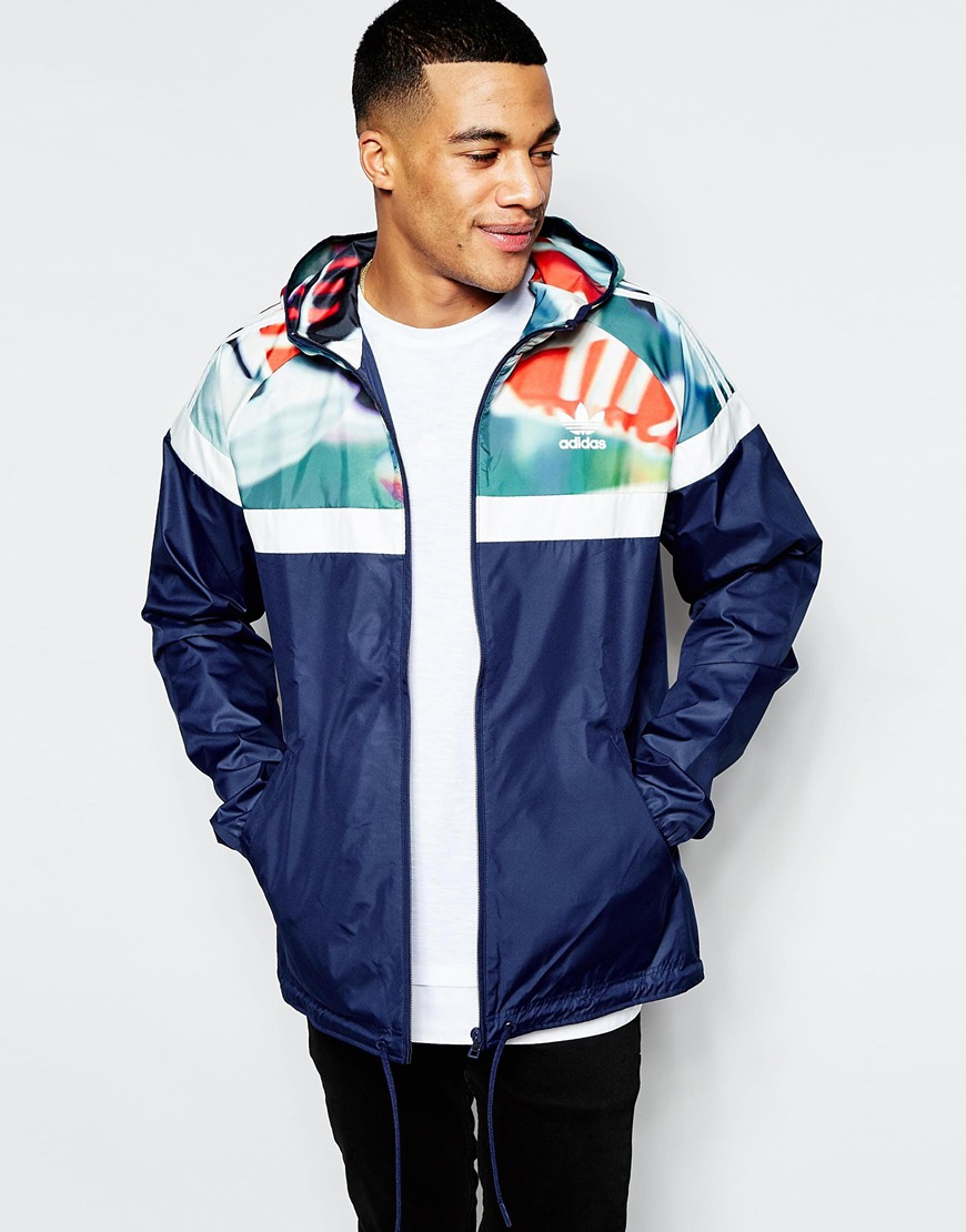 Adidas originals Windbreaker In Chaos Print in Blue for Men | Lyst