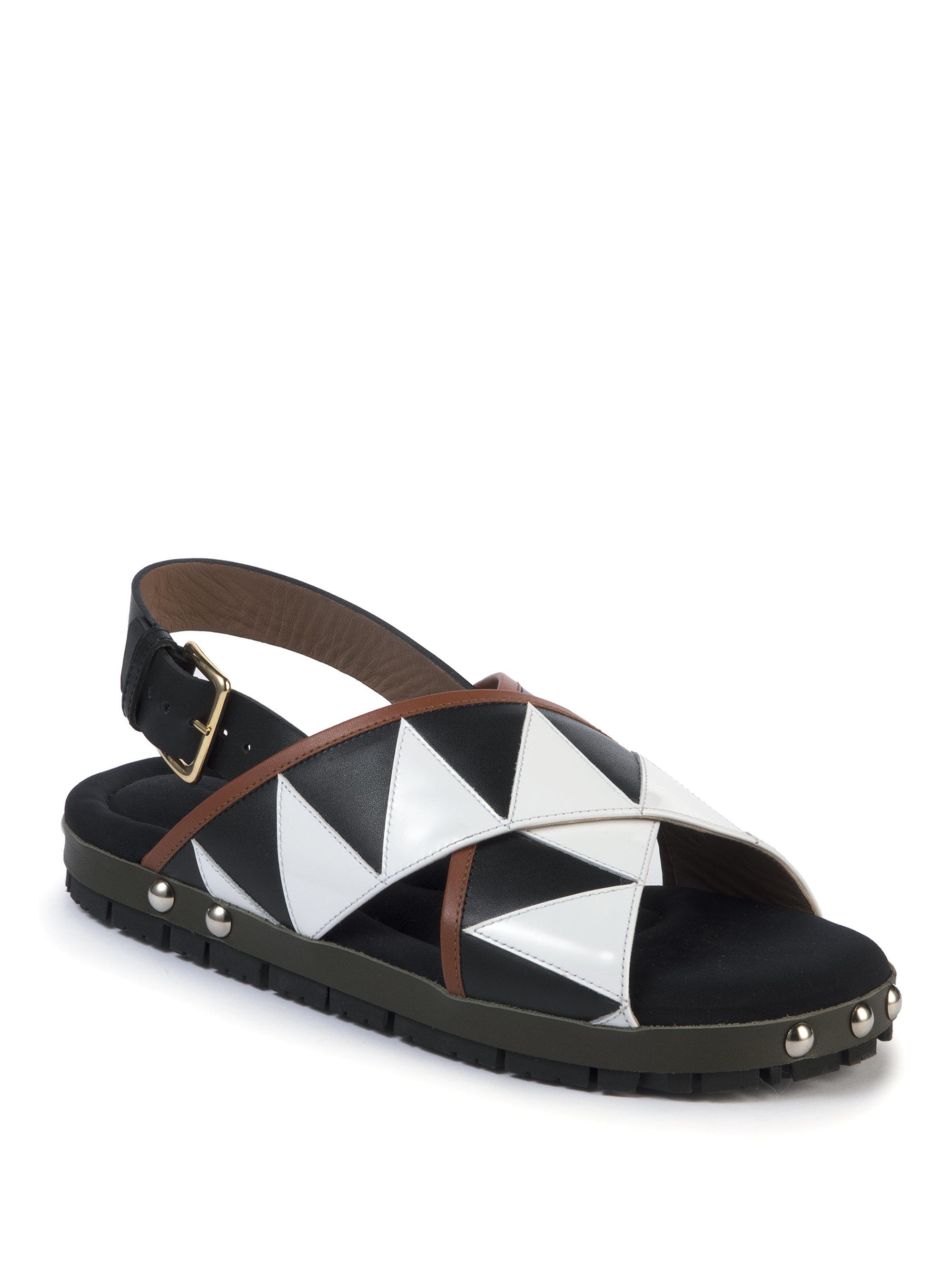 Lyst Marni Geometric Leather Crisscross Flat Sandals In