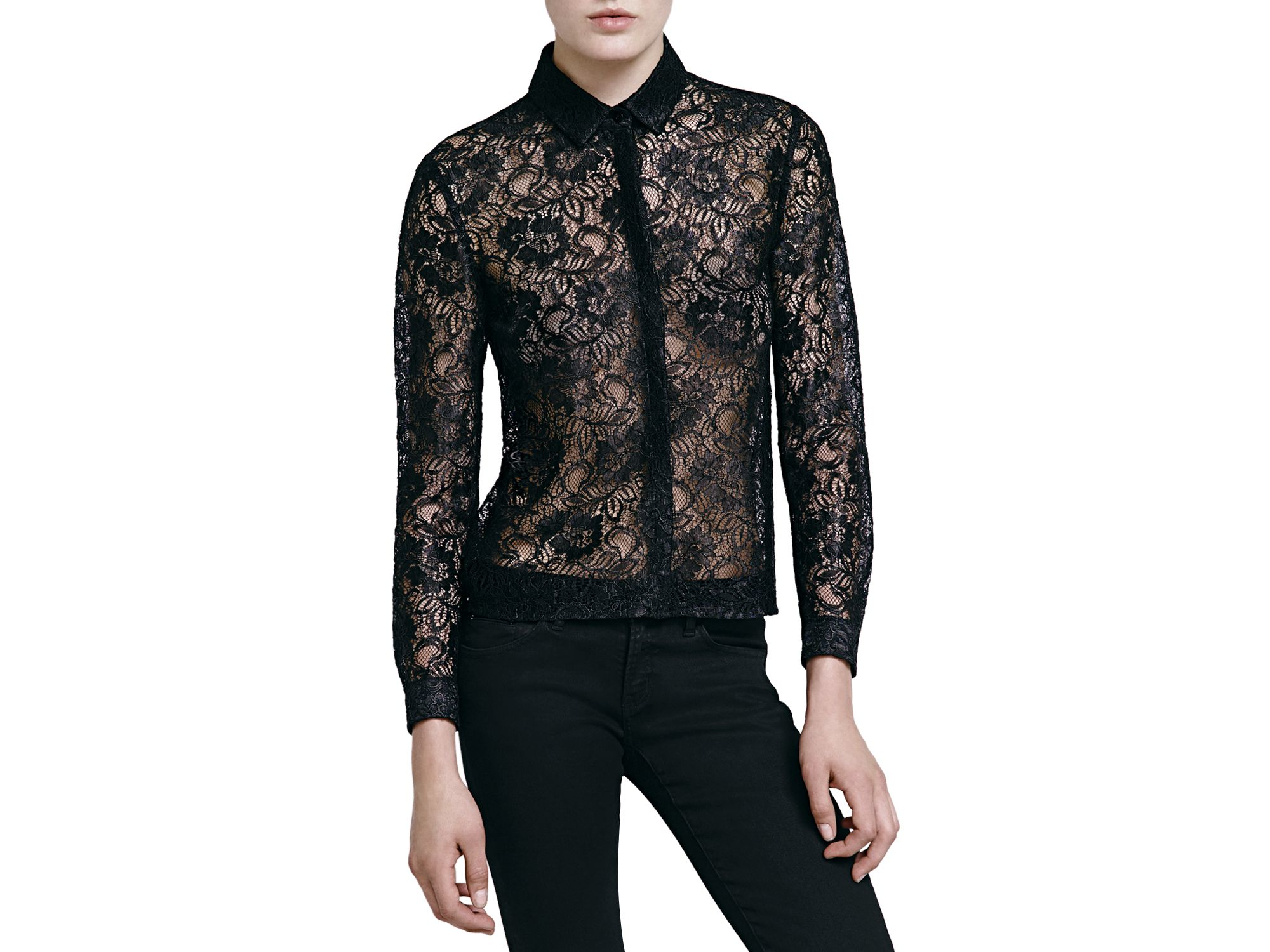 5908e3eb81 The Kooples Laminated Lace Shirt in Black - Lyst