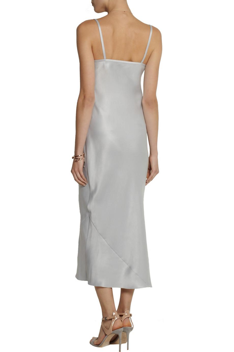 06cc53d3eb0c JOSEPH Washed-silk Maxi Slip Dress in Gray - Lyst