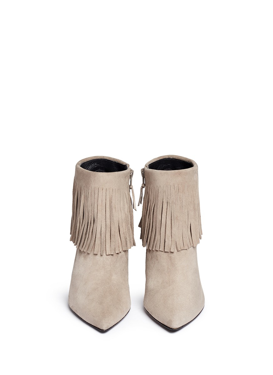 Stuart weitzman 'fringe Times' Suede Ankle Boots in Gray | Lyst