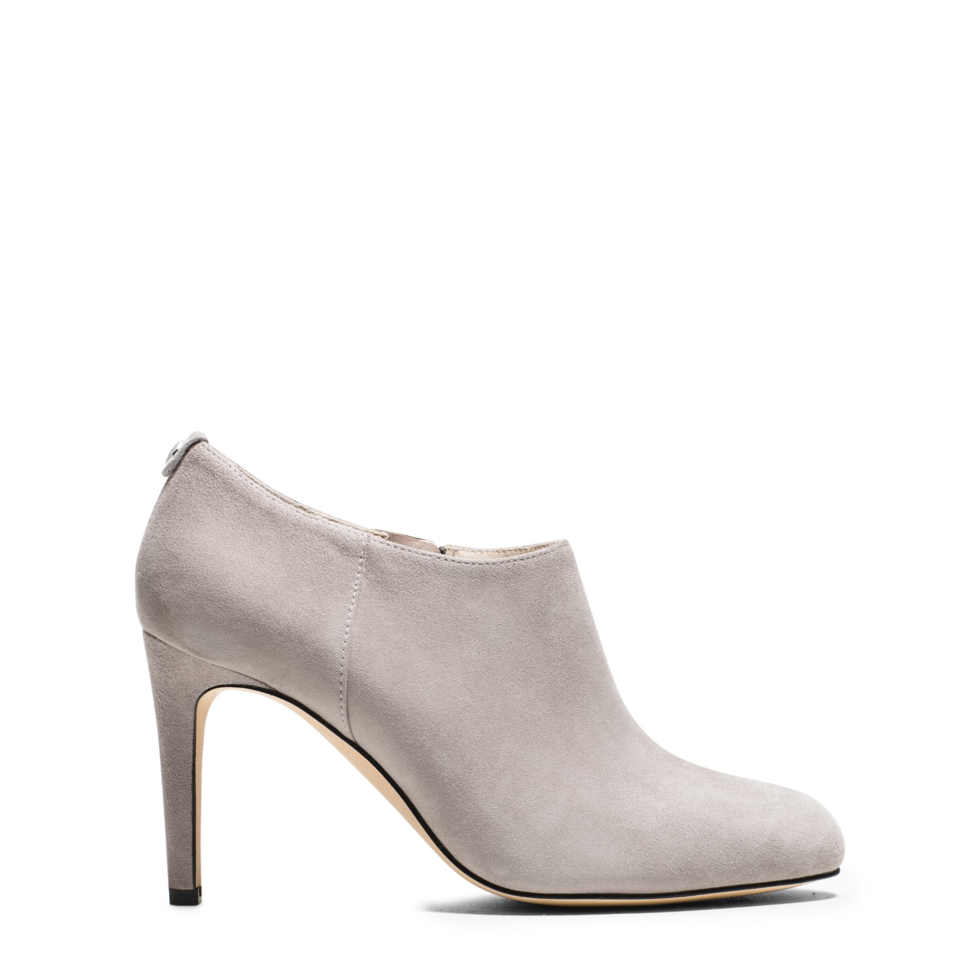 michael kors sammy suede ankle boot in white pearl grey