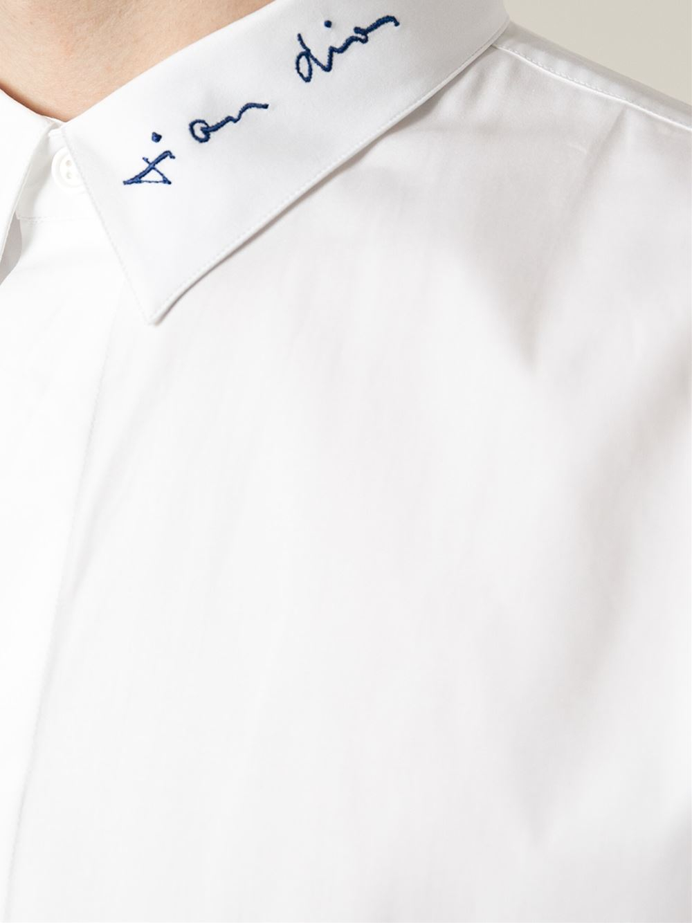 Lyst Dior Homme Embroidered Collar Shirt In White For Men