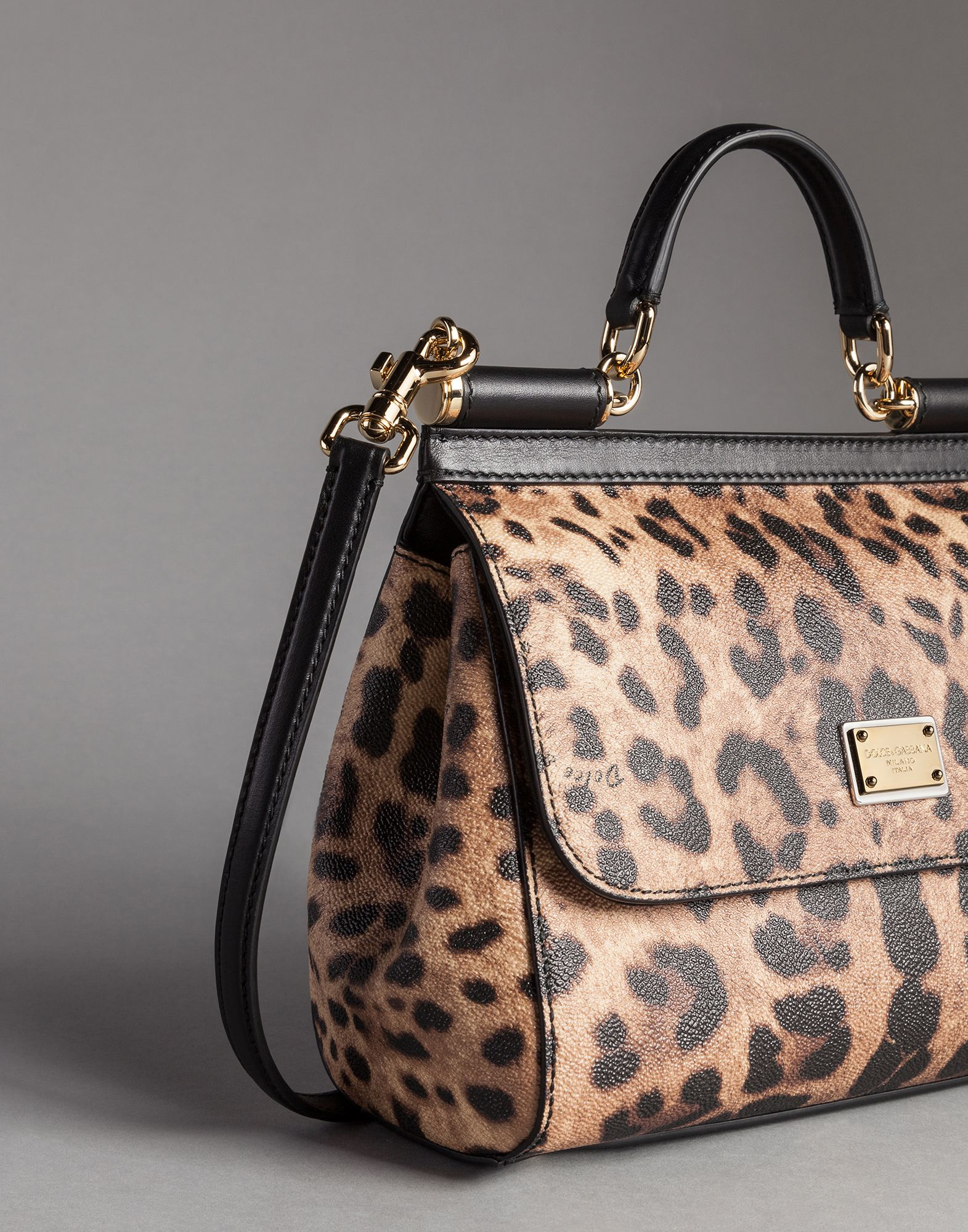 d9b733585d Lyst - Dolce   Gabbana Medium Sicily Bag In Leopard Textured Leather ...