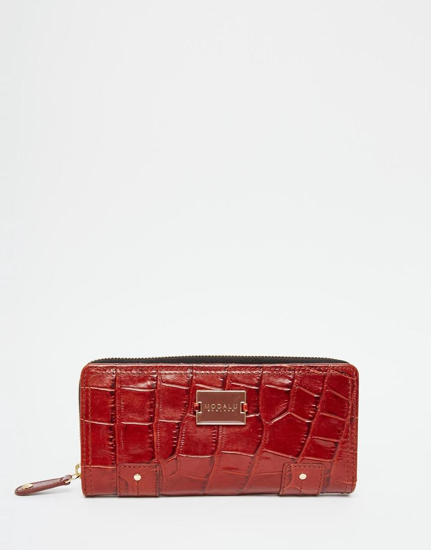 prada bag cost - Modalu Leather Zip Around Purse In Mock Croc in Brown (Choc) | Lyst
