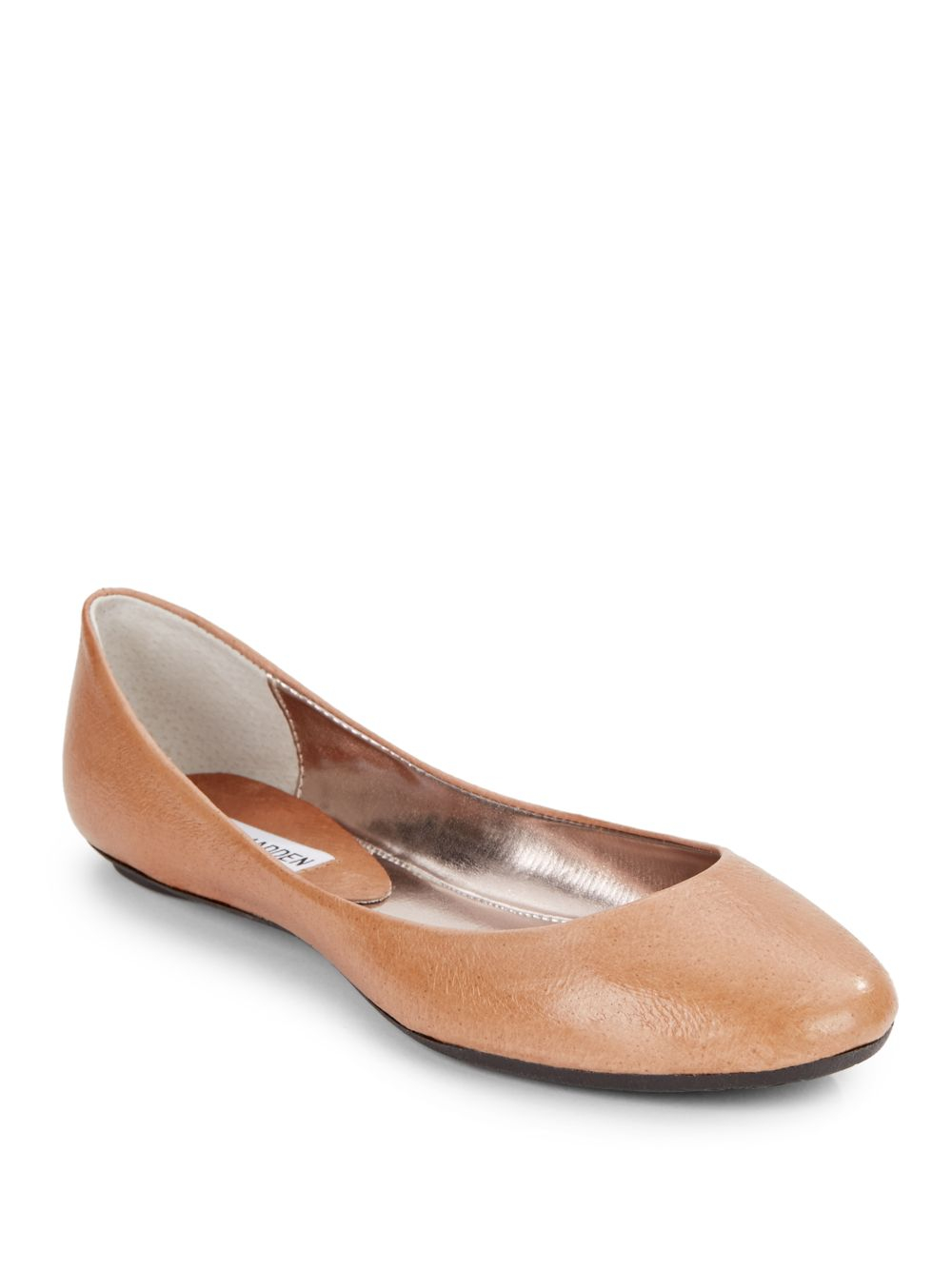 Steve Madden Heaven Brown Flats Ballet Shoes Womens Leather Cognac