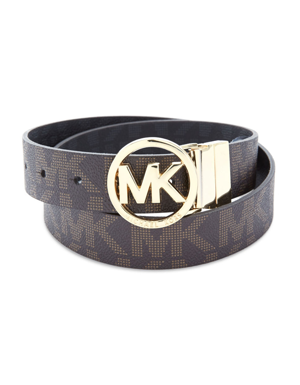 michael michael kors leather belt with gold buckle in