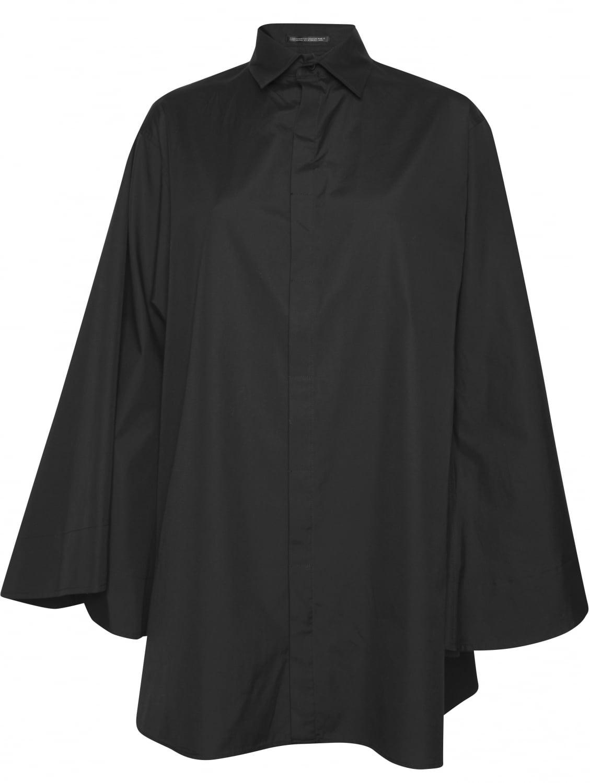 Yohji Yamamoto Black Button Down Bell Sleeve Shirt In