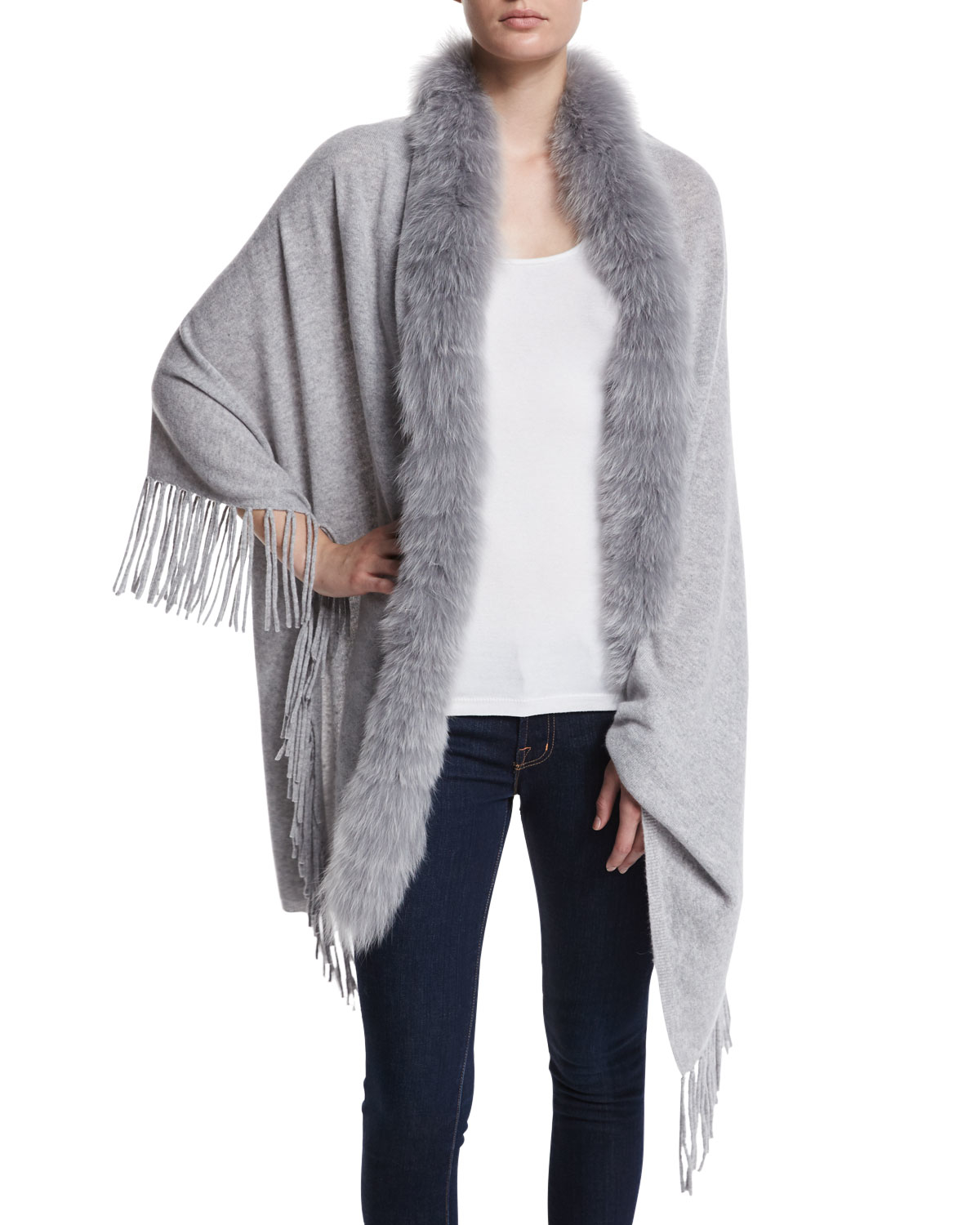 Magaschoni Cashmere Shawl With Fur Trim In Gray