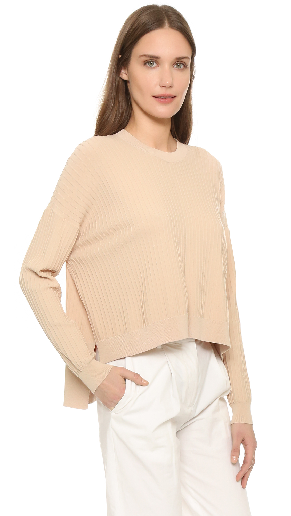 Acne studios Issy Ribbed Pullover in Natural | Lyst