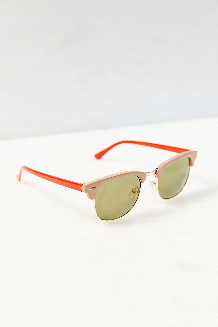 Urban outfitters Skylar Half-frame Sunglasses in Pink ...