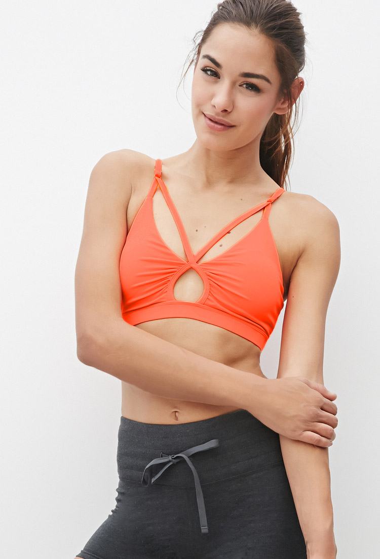 616c977e10488 Forever 21 Low Impact - Crisscross-front Sports Bra in Pink - Lyst
