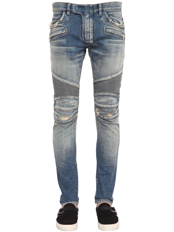 Lyst Balmain Corrugated Denim Biker Jeans In Blue For Men