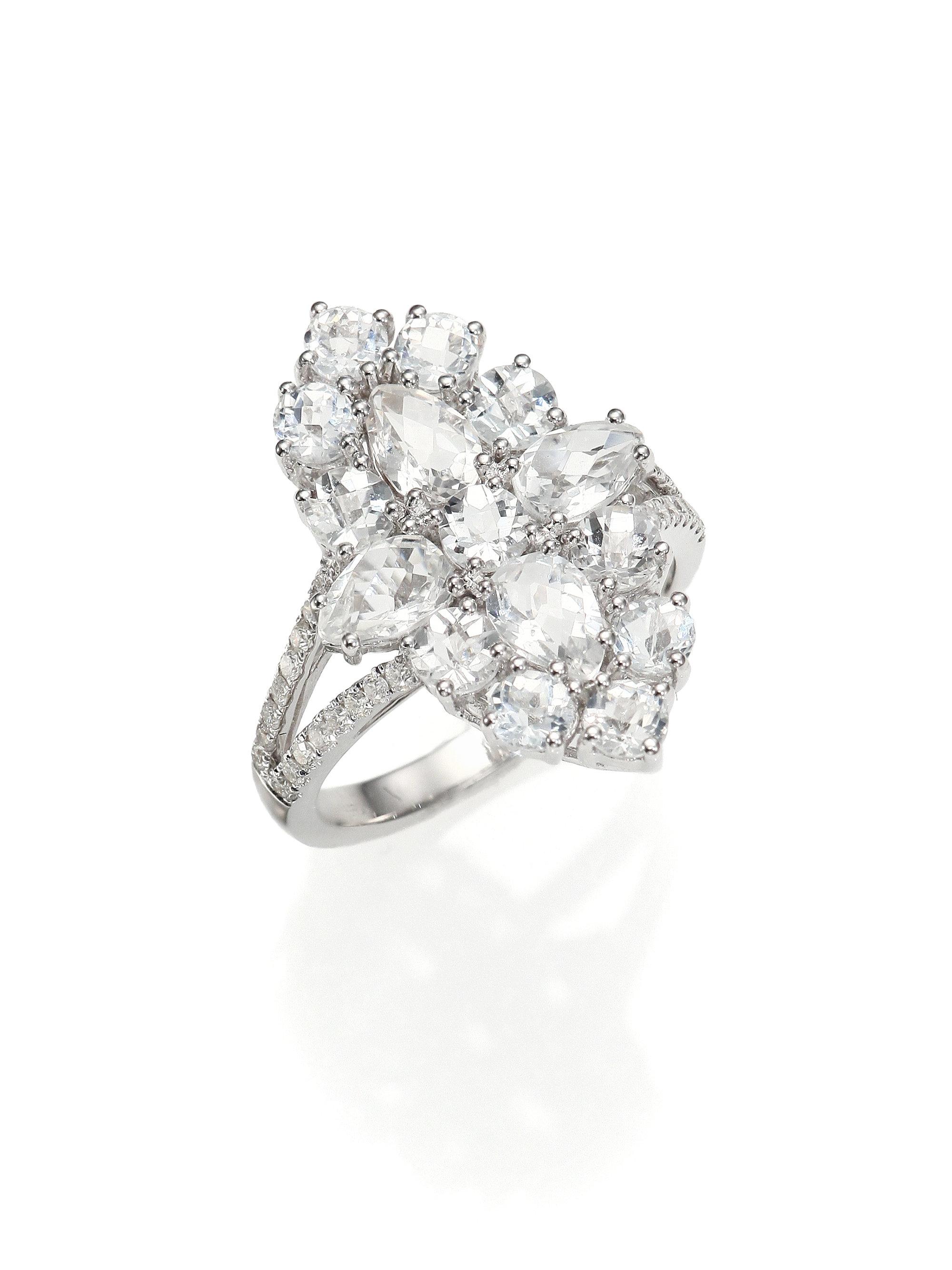 meira t pave white topaz 14k white gold ring in