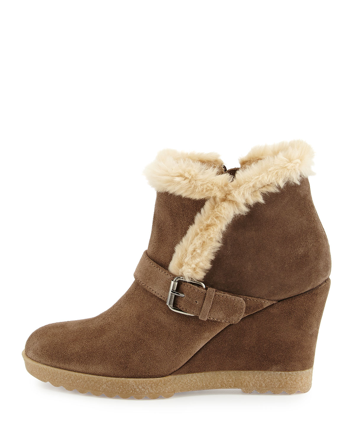 c851aa120 Lyst - Aquatalia Carlotta Faux-Fur Lined Suede Wedge Ankle Boot in Brown