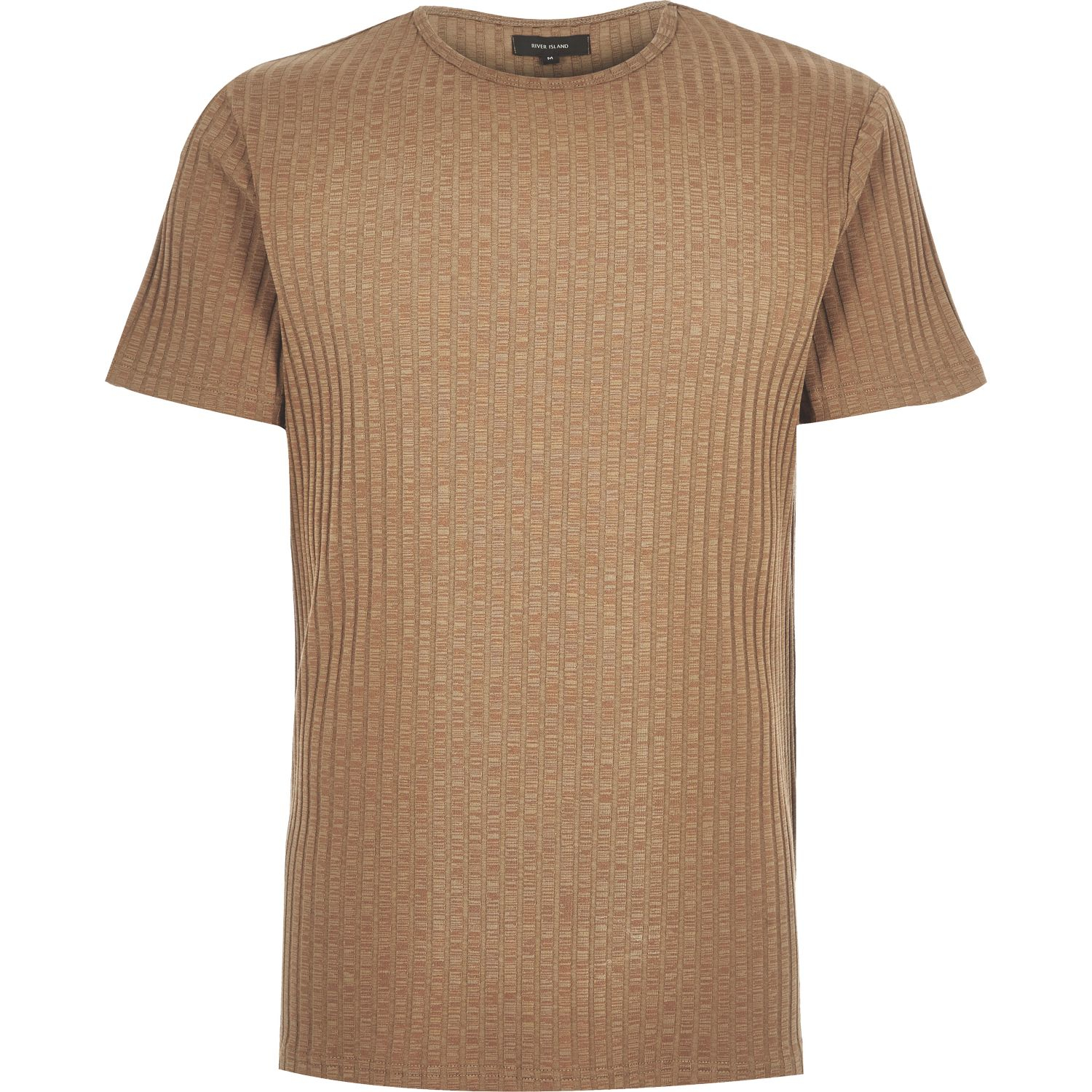 Lyst   River Island Light Brown Chunky Ribbed T Shirt In Brown For Men