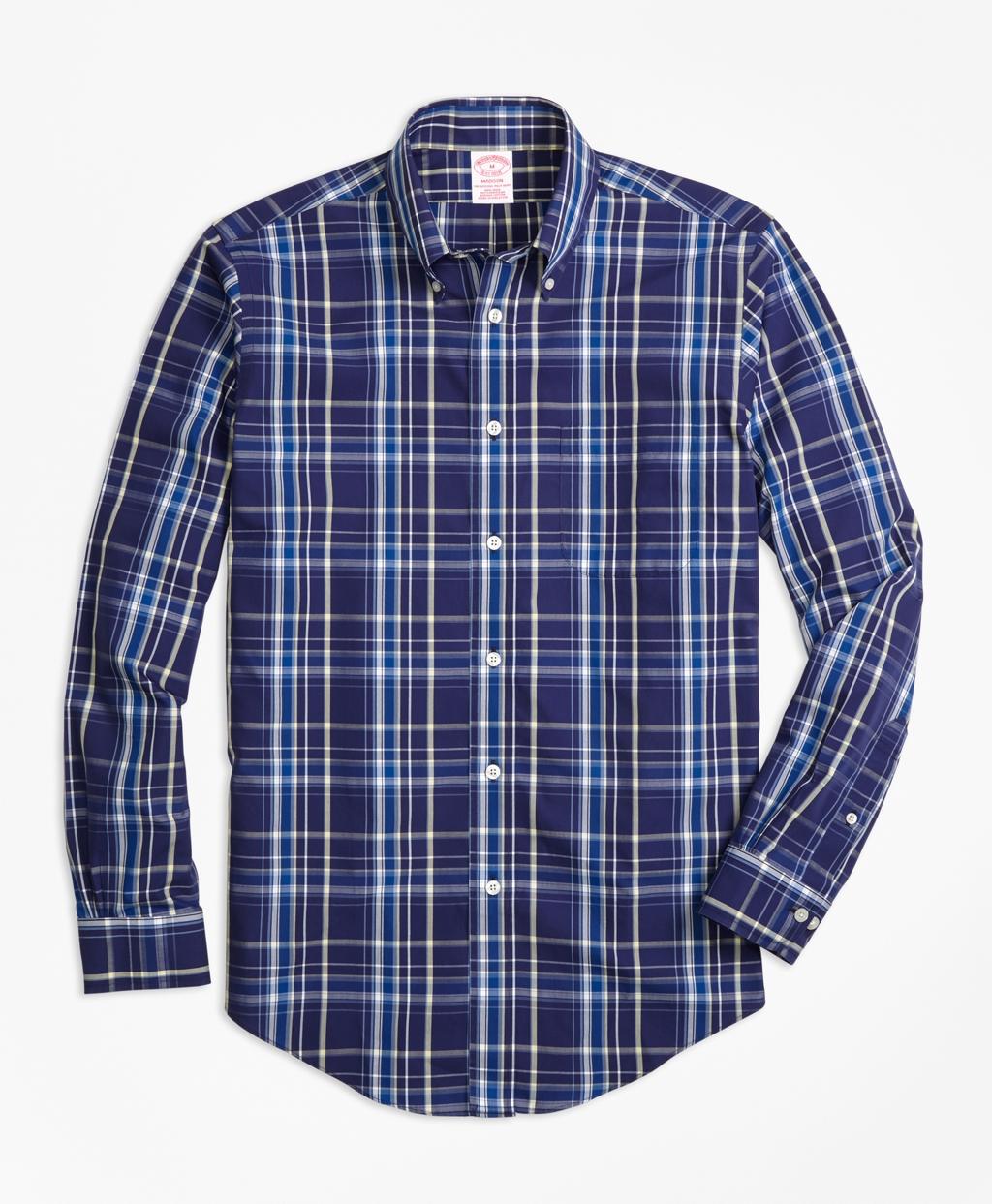 Brooks brothers non iron madison fit navy plaid sport for Navy blue plaid shirt